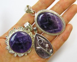 Three Amethyst Pendants for price one!   MJA 403