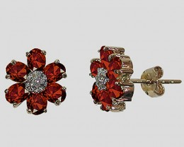 $1 No Reserve 3.61 CT Garnet & Diamond Fine Earrings $540