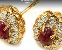$1 No Reserve 2.65 CT Ruby & Diamond Designer Earrings $535