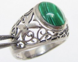 Malachite in silver Ring Size  8.5  MJA 523