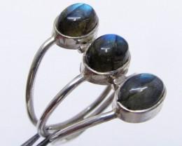 ClusterLabradorite in Silver ring size 7.5  MJA 527