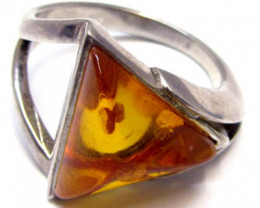 Amber  in Silver ring Tri shape size  10    MJA 528