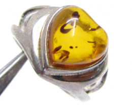 Amber  in Silver ring heart shape size    7  MJA 532