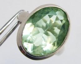 Prasiolite Green Amethyst   Silver Ring size 7.5  MJA 690
