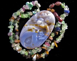 Stunning 280 CTS Cts mermaid carving on agate  Necklace   MJA 773