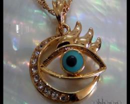 Evil eye Topaz & Enamel 18K Gold Filled Pendant
