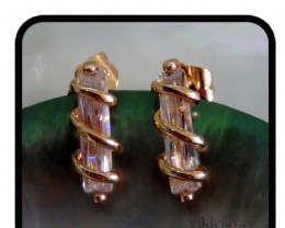 Sophisticated  wrapped Quartz 18K Gold FIlled Stud Earri N/R