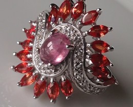 A RUBY SAPPHIRE TOPAZ RING SIZE 8 STUNNING STONES BRAND NEW