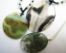 165 Cts  Three Good Pattern  Agate Pendant     MJA 889
