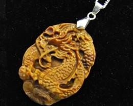 65 Cts large Dragon  Tiger eye Pendant MJA 922