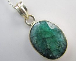 47 cTS  Emeral set in silver Pendant  MJA 1207