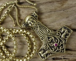 Thor's Hammer Face of Odin, Wolves, Full Necklace Handmade Art
