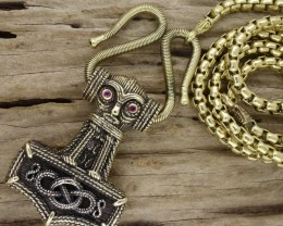 Thor's Hammer Vintage Style, Full Necklace Handmade Art