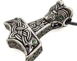 Thor's Hammer Pendant & Necklace with Celtic Knot & Raven Motif Bra
