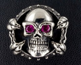 Biker Skull & Claw Wallet Snap Concho, Silver Brass, For Bags, Pouches,