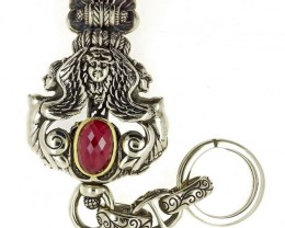 Steampunk Victorian Keychain, Silver Brass, Designer Signed, Hooks to Belt