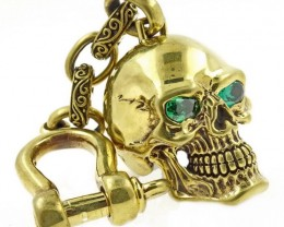 Spiderweb Skull, Keychain, Green Eyes, Signed by Artist.