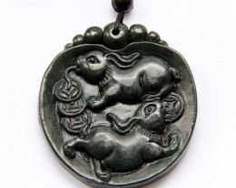 $1 No Reserve! 225 Cts Black Green Jade Two Fortune Rabbits Coins Pendant $
