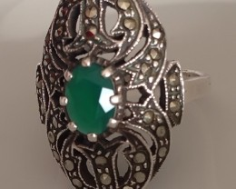 Size 6.5 Marquisite & Aventurine Sterling Silver Ring - Vintage