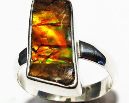 8 RING SIZE BRIGHT  CANADIAN AMMOLITE SILVER  RING  [SJ4186]