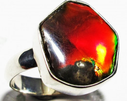 8.5 RING SIZE BRIGHT  CANADIAN AMMOLITE SILVER  RING  [SJ4187]