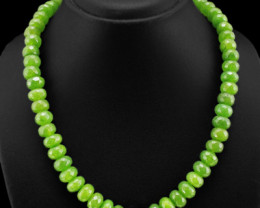Genuine Fantastic Fabulous 482.00 Cts Green Garnet Beads Necklace