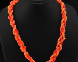 Genuine 225.00 Cts Carnelian Faceted Beads Necklace Strand