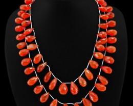 Genuine 538.00 Cts 2 Line Pear Cut Orange Carnelian Beads Necklace