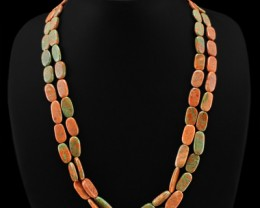 Genuine 250.00 Cts 2 Line Blood Green Unakite Beads Necklace