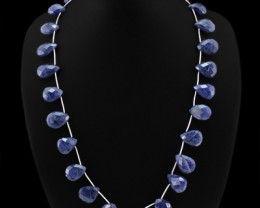 Genuine 257.00 Cts Pear Cut Blue Tanzanite Beads Necklace