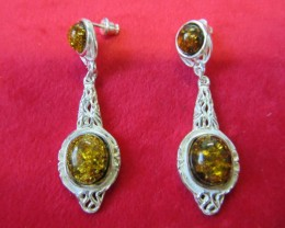 59Cts Amber Silver  EarringLong design   AGR687