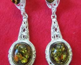 53 Cts Amber Silver  Earring longdesign   AGR689