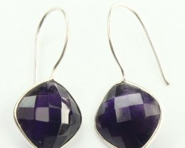 925 Solid Sterling Silver Natural Gemstones Amethyst Faceted Square Earring