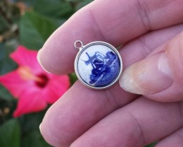 SS925 VINTAGE HOFFMAN DELFT DUTCH HOLLAND PENDANT PORCELAIN IN STERLING SIL