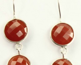 925 Solid Sterling Silver Natural Gemstones Red Onyx Round Faceted Earrings