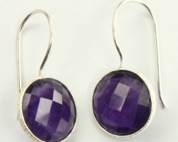925 Solid Sterling Silver Natural Gemstones Amethyst Round Faceted Dangle E