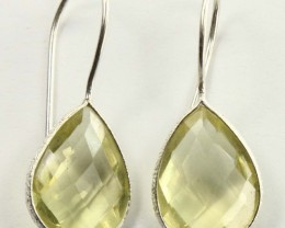 925 Solid sterling Silver Natural Gemstones Lemon Quartz Pears Faceted Earr