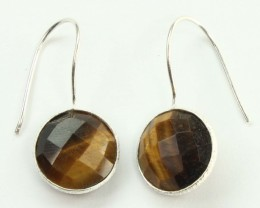 925 Solid Sterling Silver Natural Gemstones Tiger`s Eye Round Faceted Earri