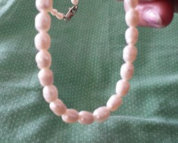Natural Cultured Pearl Necklace Sterling Silver Closure