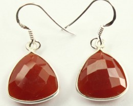 925 Solid Sterling Silver Natural Gemstones Red Onyx  Faceted Dangle Earrin