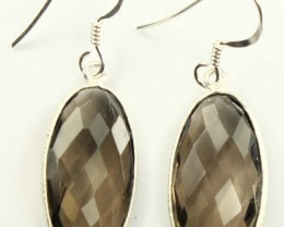 925 Solid Sterling Silver Natural Gemstones Smoky Quartz Faceted Dangle Ear