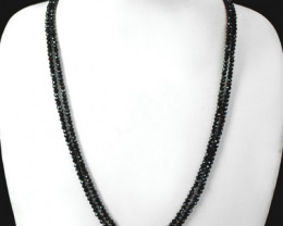 Genuine 88.00 Cts 2 Line Black Spinel Beads Necklace