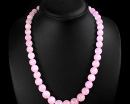 Genuine 382 Cts Pink Rose Quartz Beads Necklace