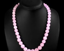 Genuine 382 Cts Pink Rose Quartz Beads Necklace
