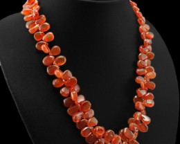 Genuine Orange Carnelian Pear Shaped Untreated Necklace
