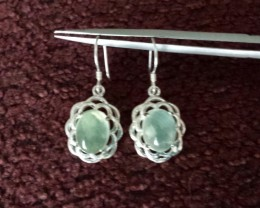 PREHNITE EARRINGS STERLING SILVER CAST SETTING
