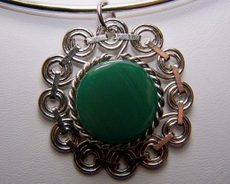CLEARANCE~ Genuine Green Agate Pendant with Choker Necklace
