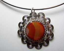 CLEARANCE~Beautiful Genuine Agate Pendant w/Choker Necklace