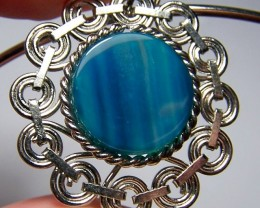 CLEARANCE~Genuine Teal Green Agate Pendant w/Choker Necklace