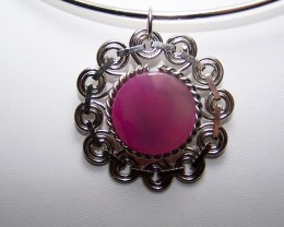 CLEARANCE~ Genuine Pink Agate Pendant with Choker Necklace
